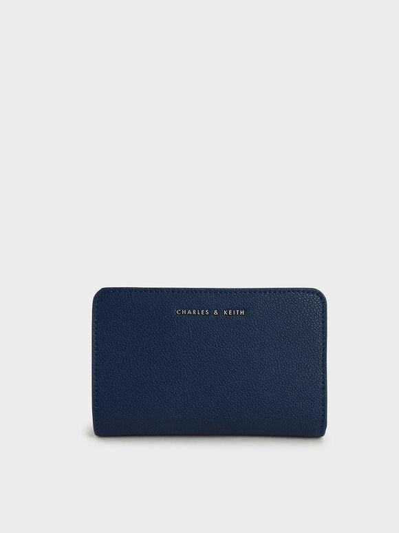 經典拉鍊皮夾, 深藍色, hi-res