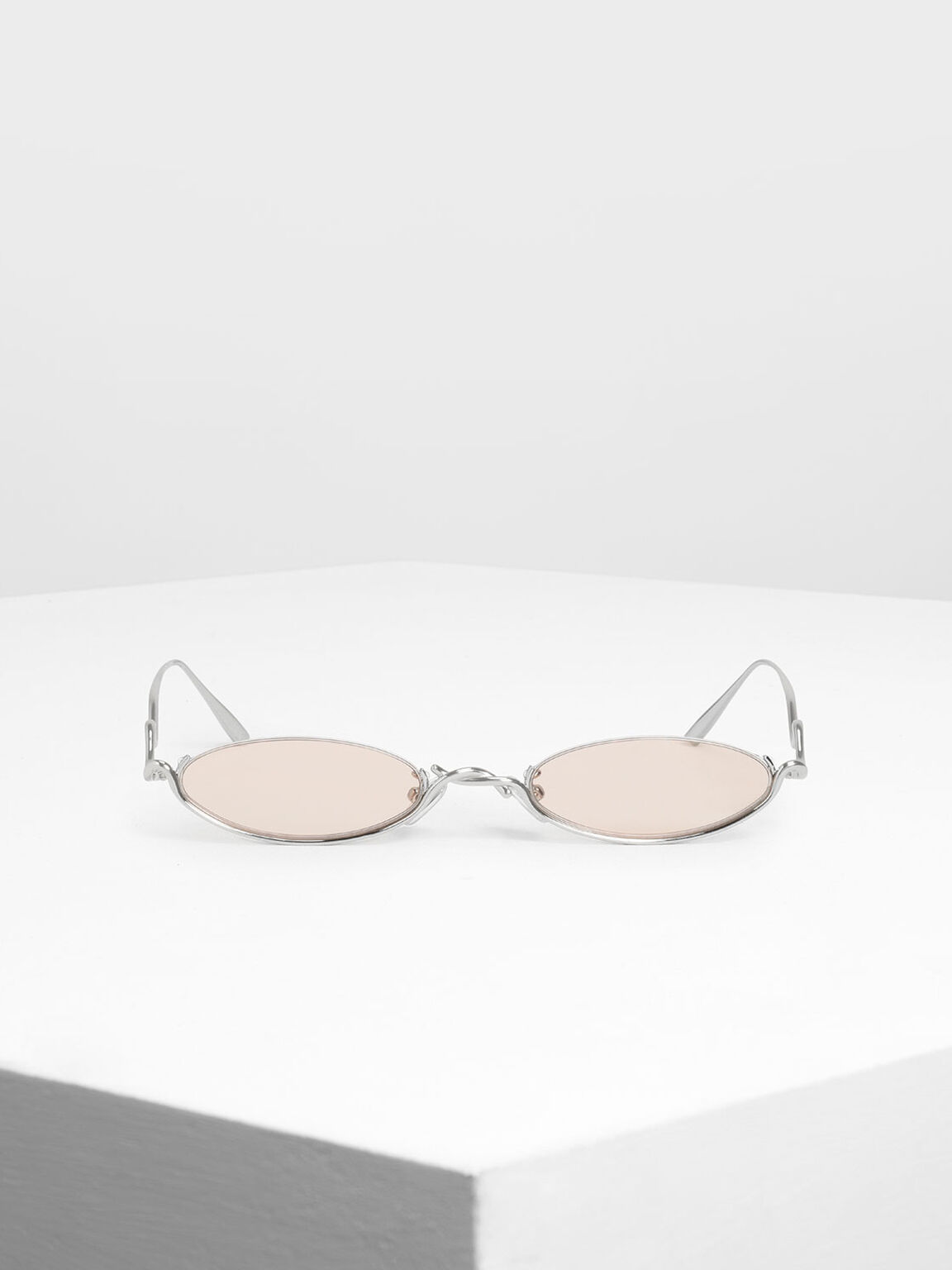 Wire Frame Oval Sunglasses, Pink, hi-res