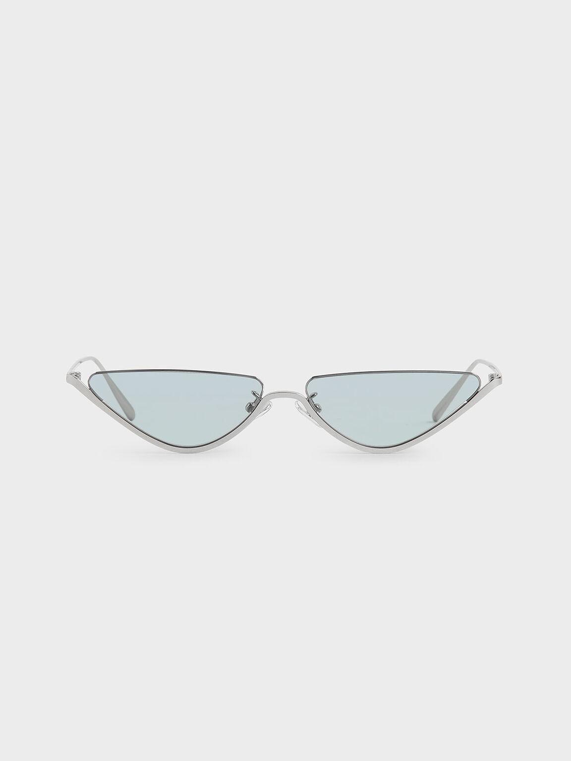 金屬框貓眼墨鏡, 藍色, hi-res