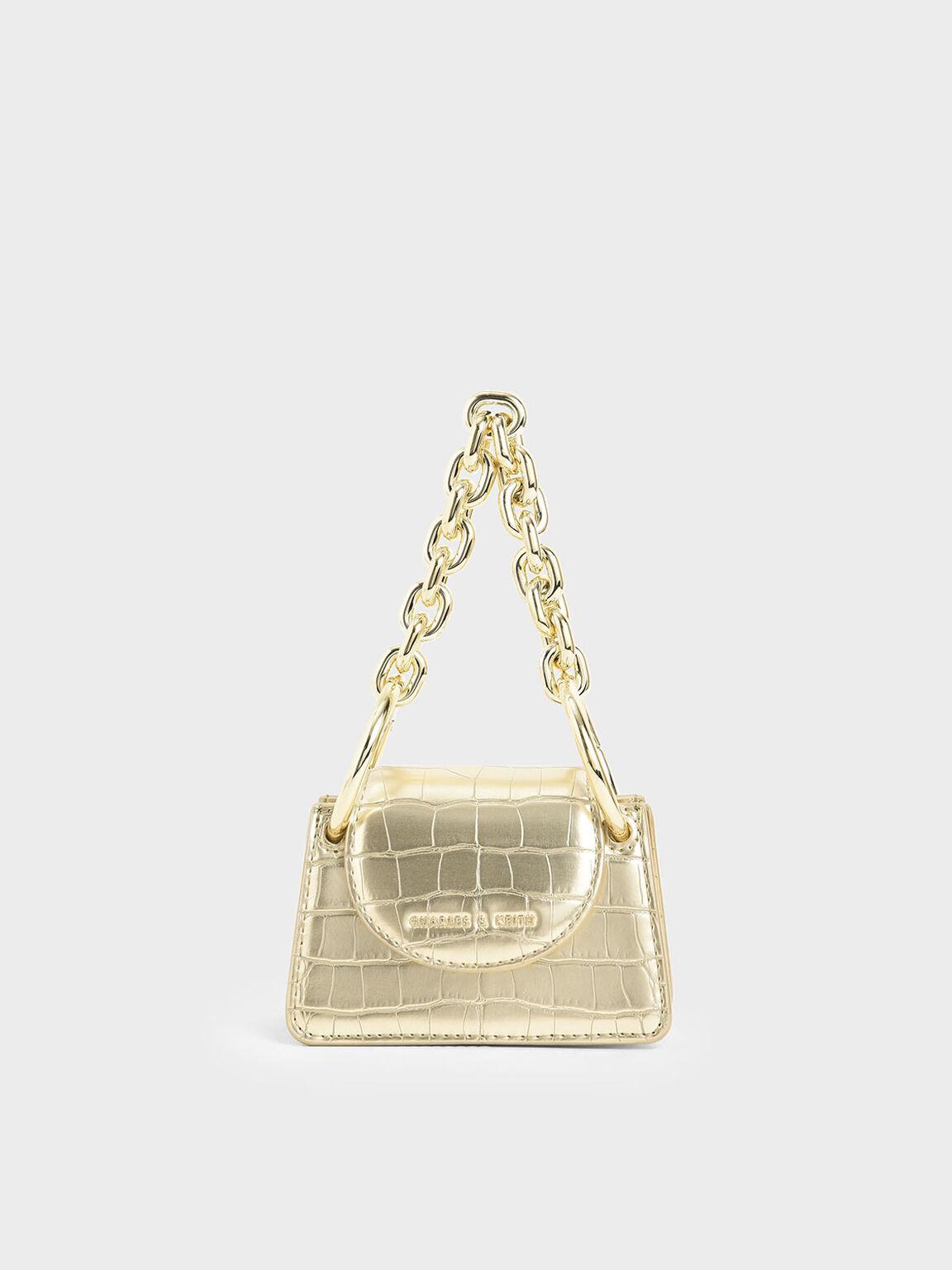 Croc-Effect Chunky Chain Handle Mini Bag, Gold, hi-res