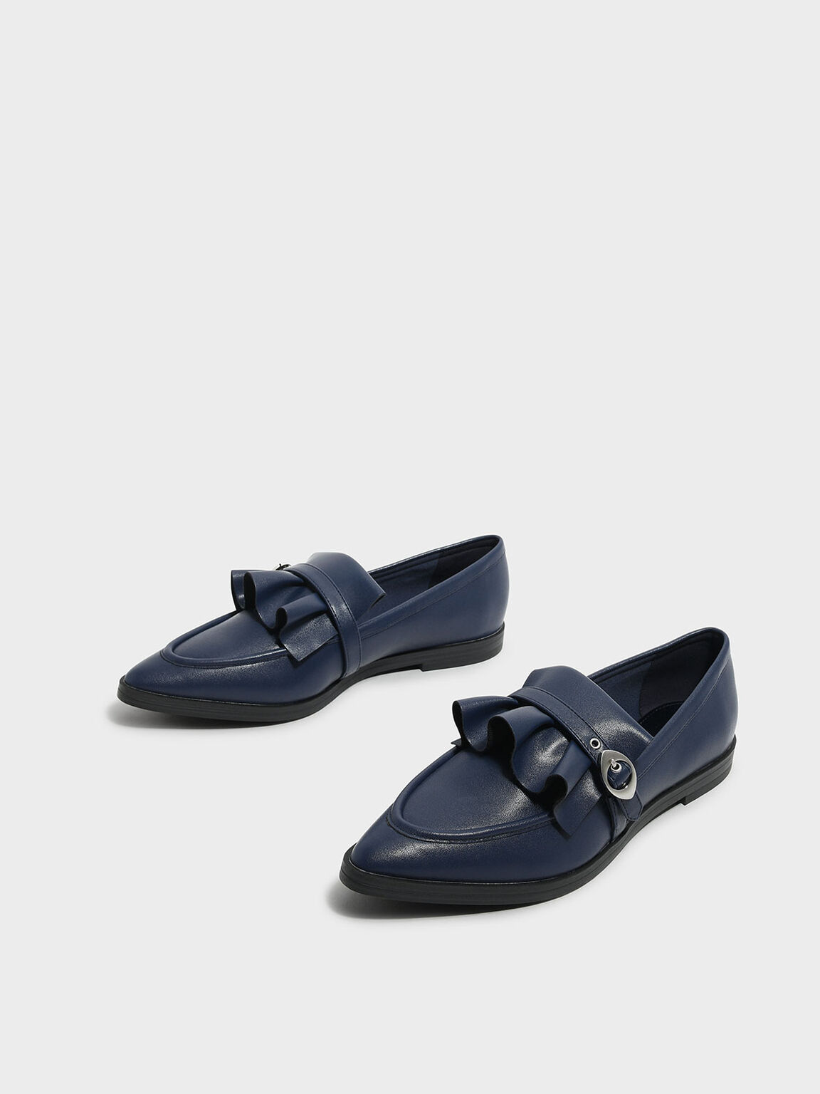 Ruffle Detail Loafers, Blue, hi-res