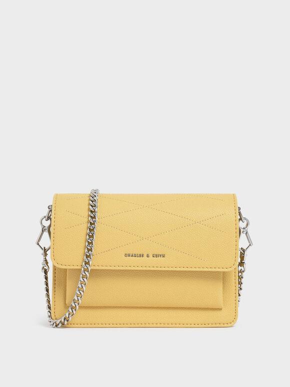 Top Stitch Detail Crossbody Bag, Yellow, hi-res