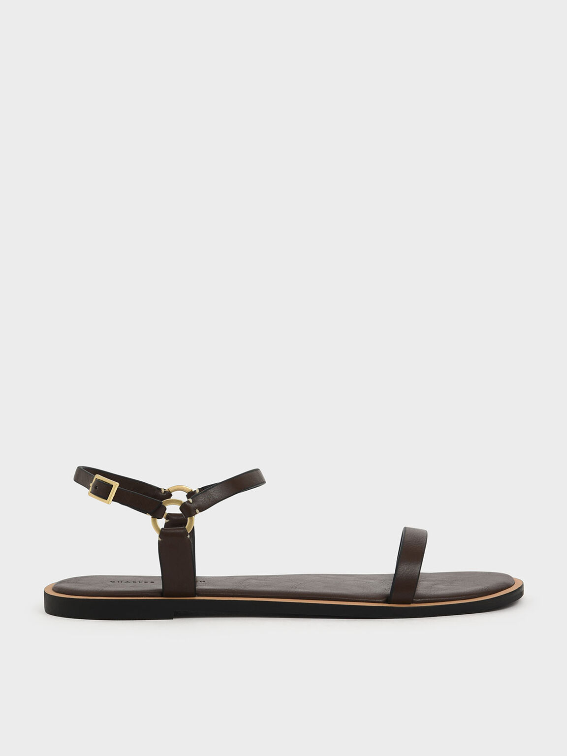 Ankle Strap Flat Sandals, Brown, hi-res