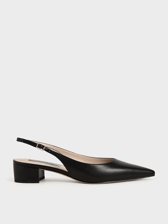 Pointed Toe Slingback Pumps, Black, hi-res