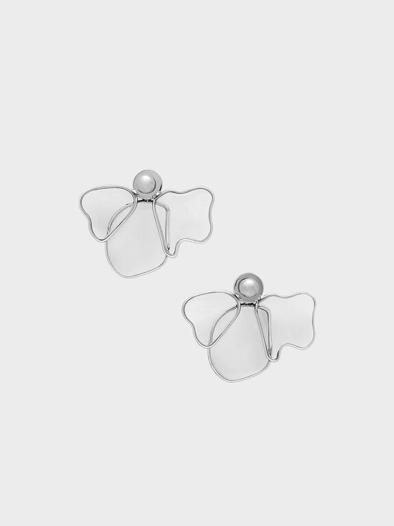 Crystal & Acrylic Petal Stud Earrings, Silver, hi-res