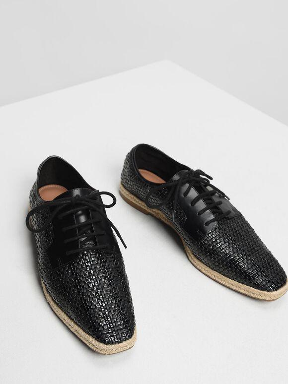 Raffia Derby Shoes, Black, hi-res