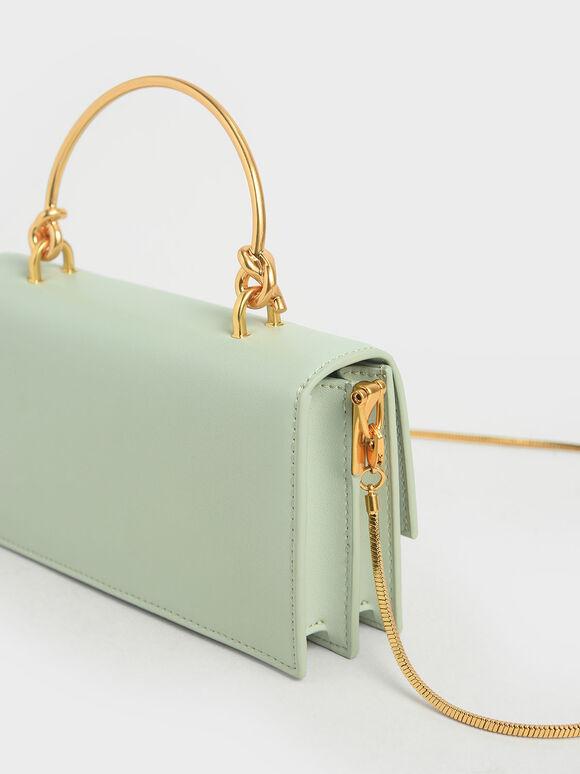 Metal Top Handle Long Wallet, Mint Green, hi-res