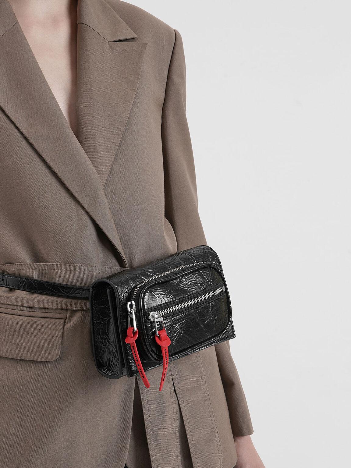 Wrinkled Effect Mini Rectangle Crossbody Bag, Black, hi-res