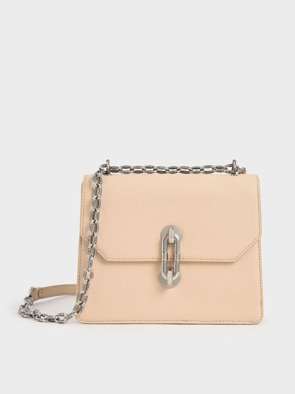 Double Chain Strap Turn-Lock Bag, Nude, hi-res