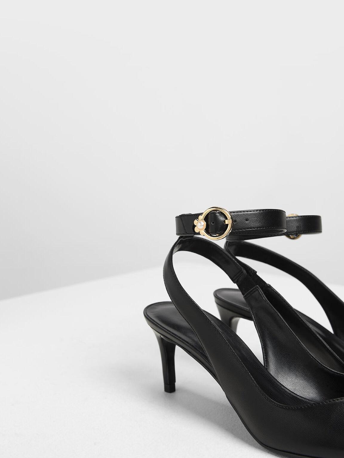 Embellished Ankle Strap Pumps, Black, hi-res