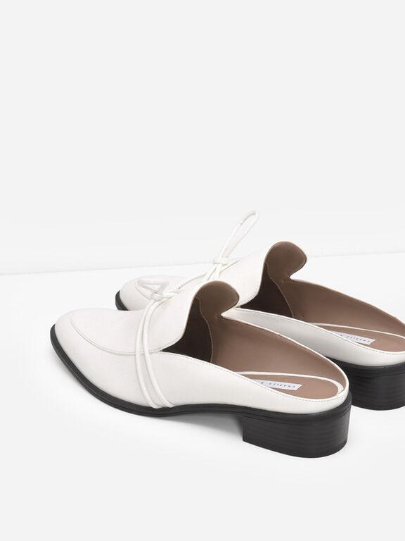 Almond Toe Knot Mules, White, hi-res