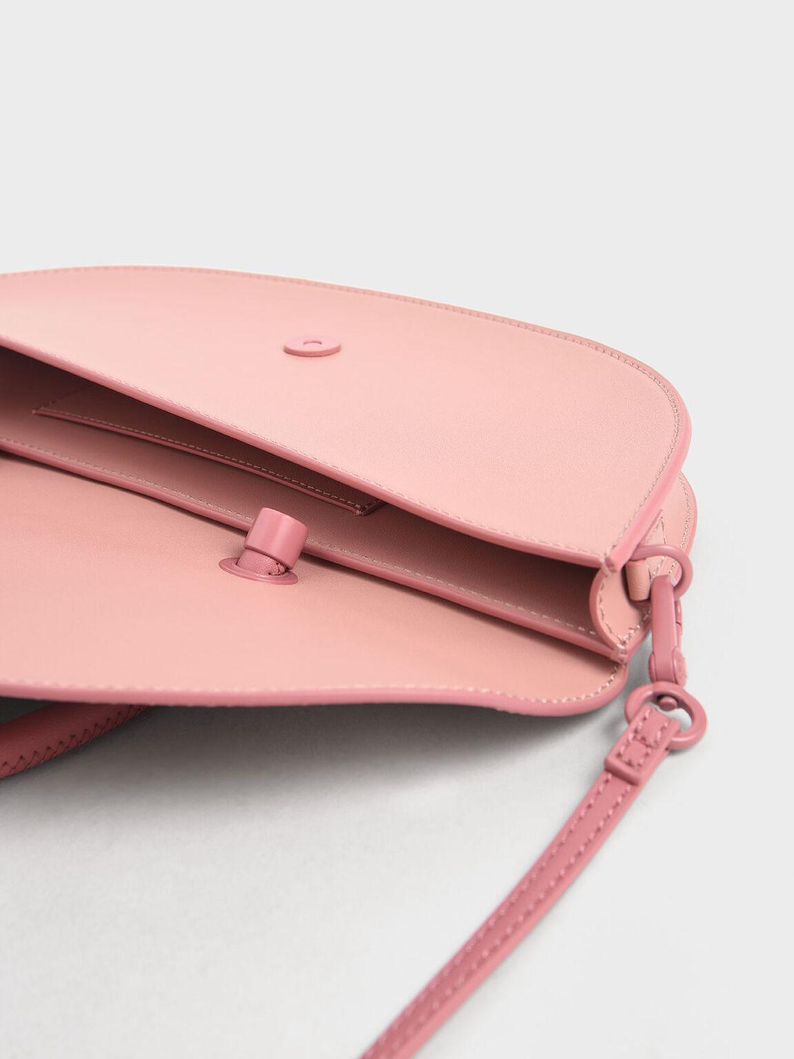 Elongated Saddle Bag, Pink, hi-res