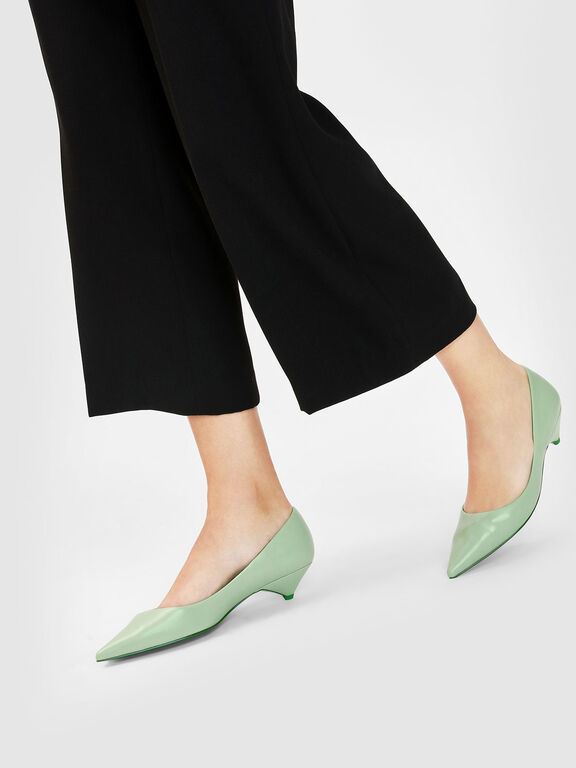 Classic Kitten Heel Pumps, Sage Green