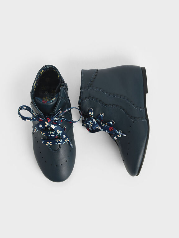 Girls' Floral Print Lace-Up Ankle Boots, Teal