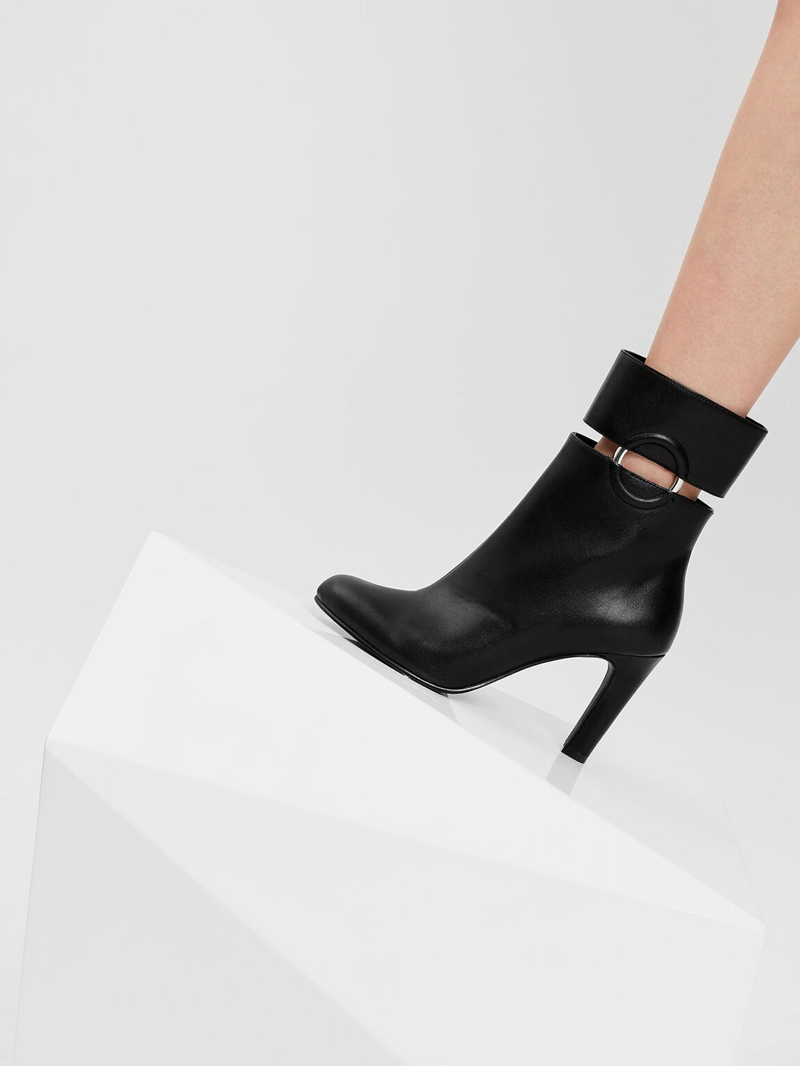 Ring Detail Calf Boots, Black, hi-res