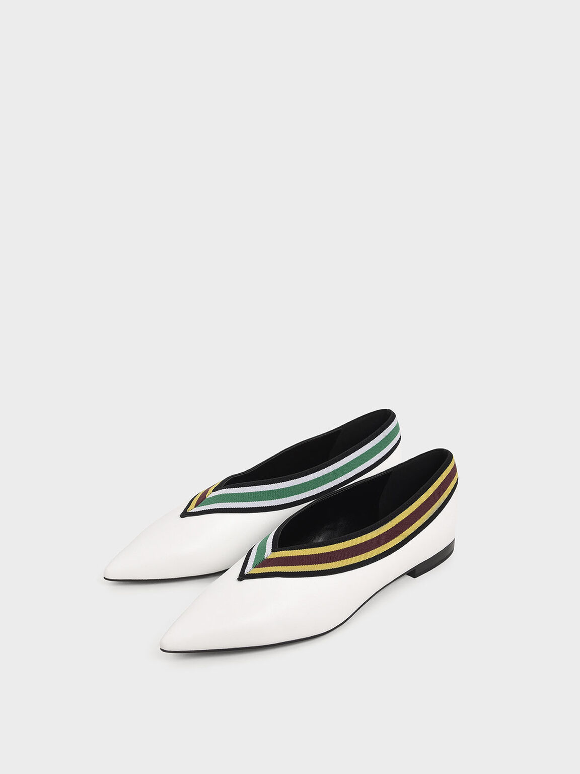 Striped Trim Ballerina Flats, White, hi-res