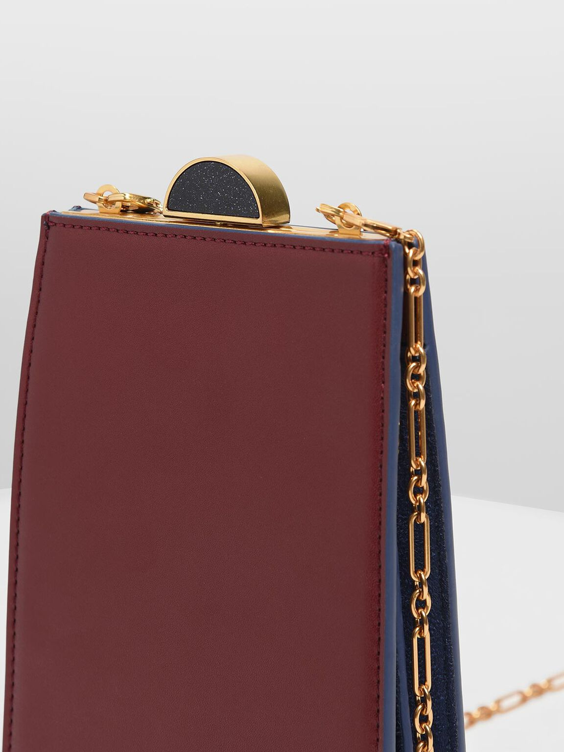 Circle Top Handle Clutch, Prune, hi-res
