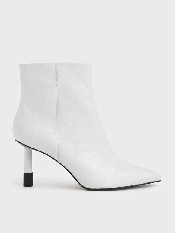 Stiletto Heel Ankle Boots, White, hi-res
