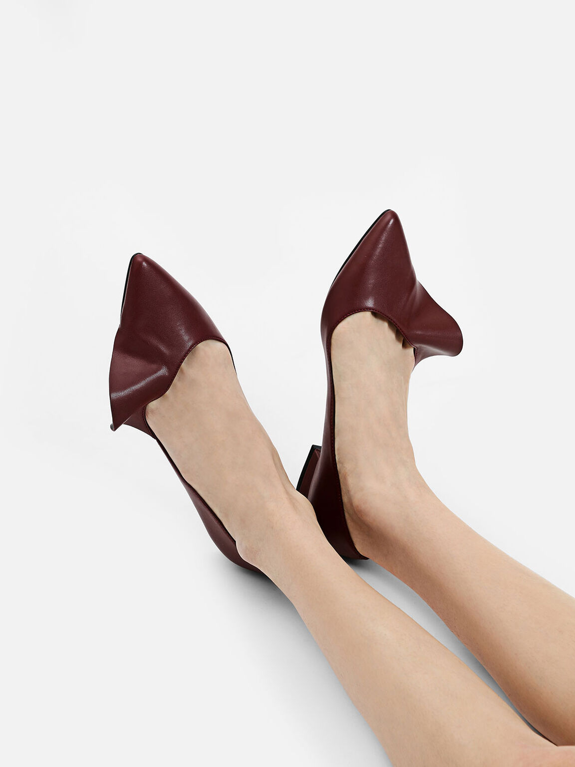 Ruffle Detail Pointed Flats, Red, hi-res