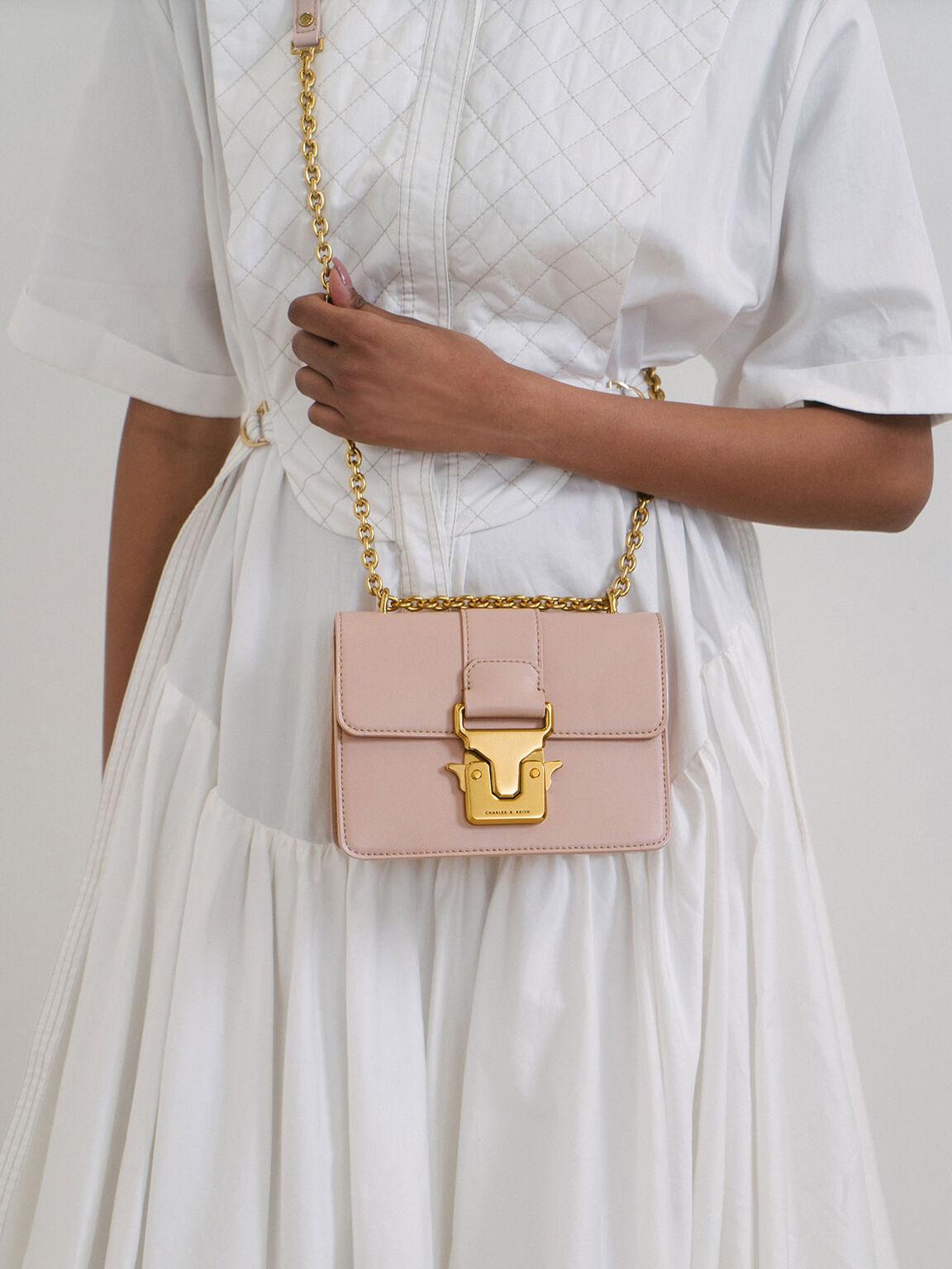 造型釦鍊條肩背包, 粉紅色, hi-res