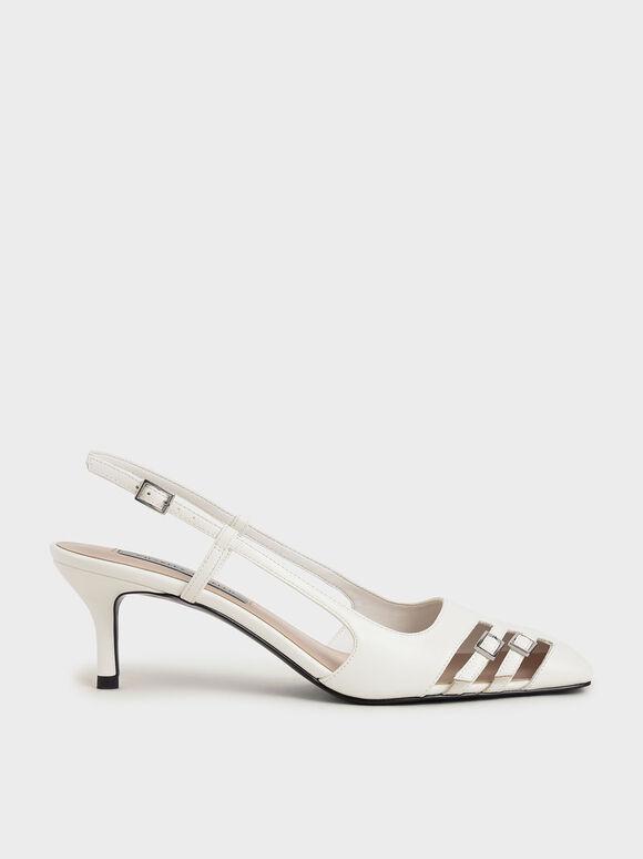 金屬雙釦細跟鞋, 白色, hi-res