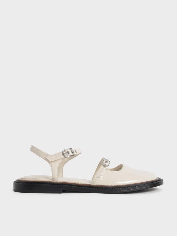 車縫線繞踝平底鞋, 石灰白, hi-res