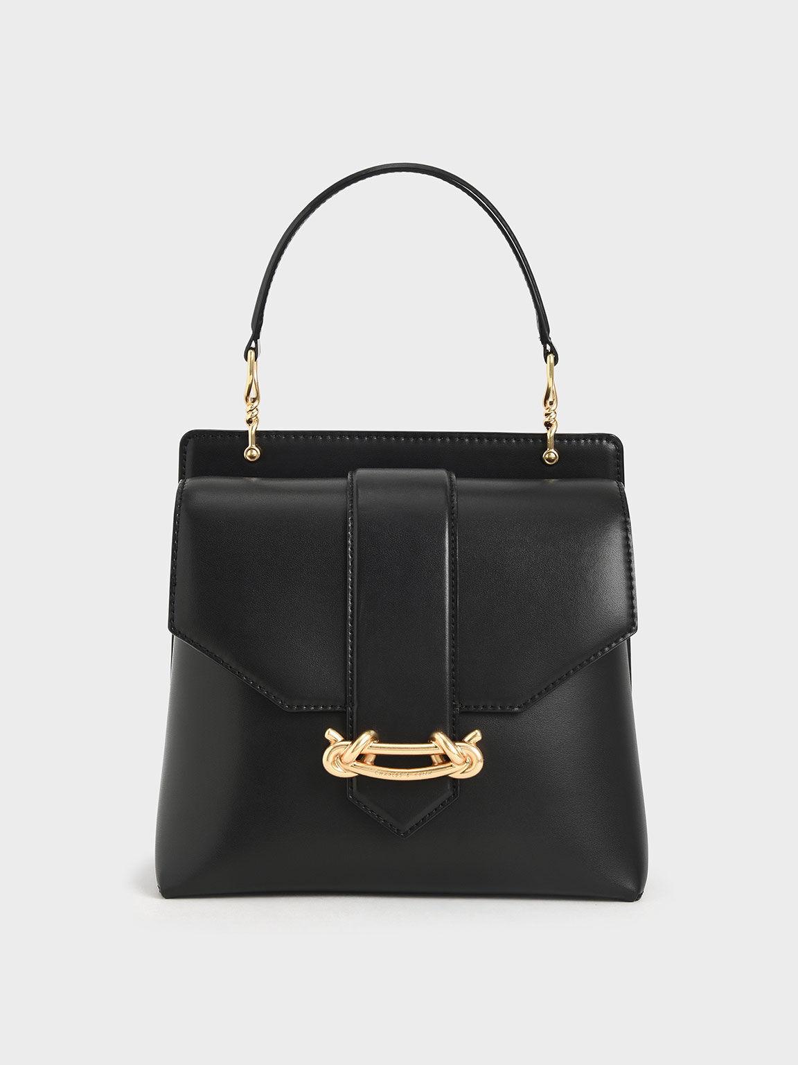 Metallic Accent Top Handle Bag, Black, hi-res