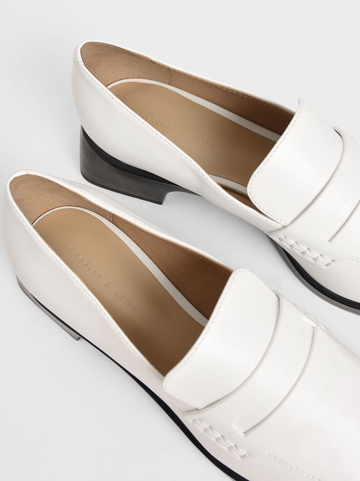 Patent Loafers, White, hi-res