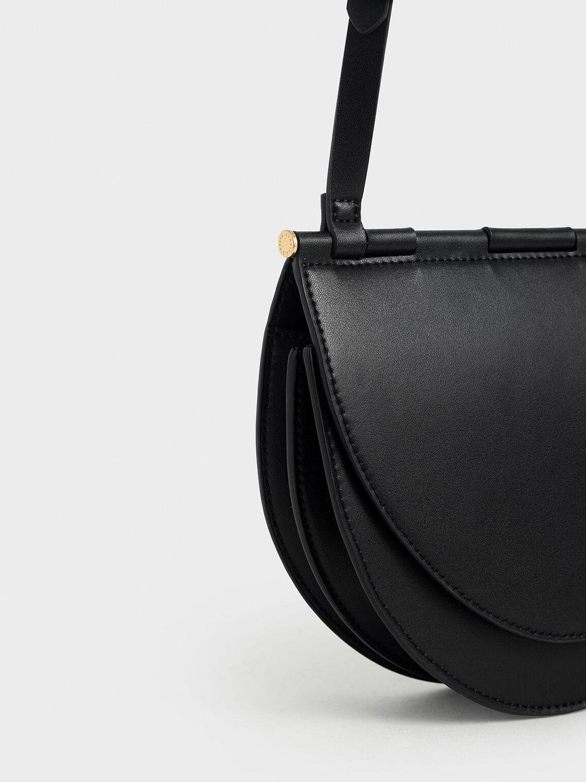 Semi-Circle Crossbody Bag, Black, hi-res