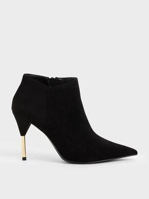 Metallic Stiletto Heel Ankle Boots, Black Textured