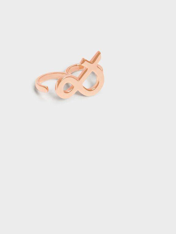 Ampersand Double Ring, Rose Gold