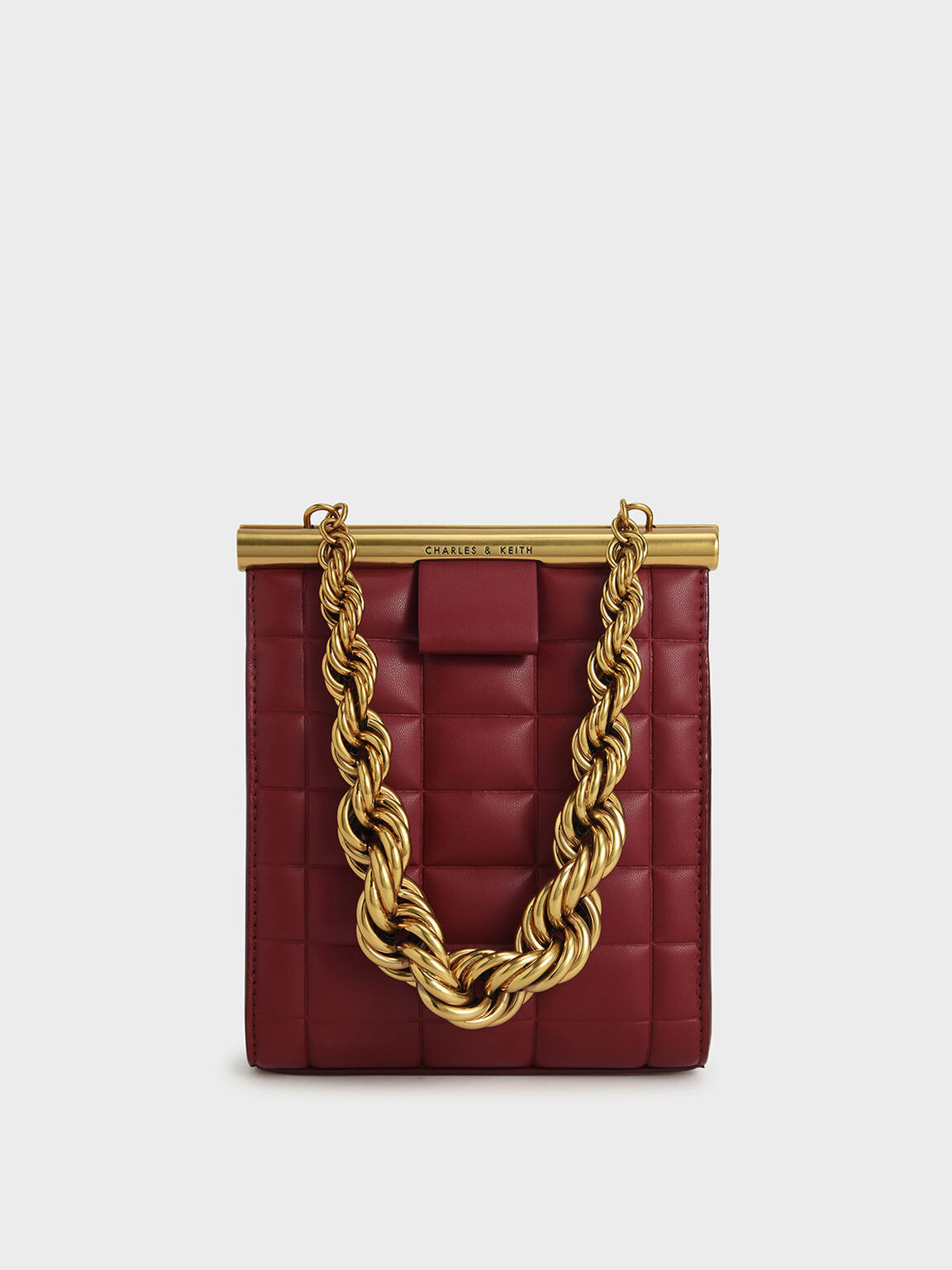 Chunky Chain Link Quilted Bag, Red, hi-res