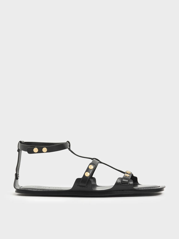 Studded Gladiator Sandals, Black, hi-res