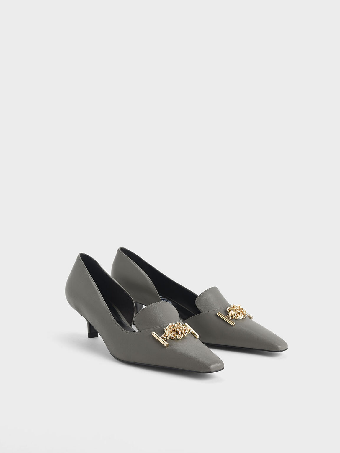 Knotted Chain Detail Leather Blade Heel D'Orsay Pumps, Sage Green, hi-res
