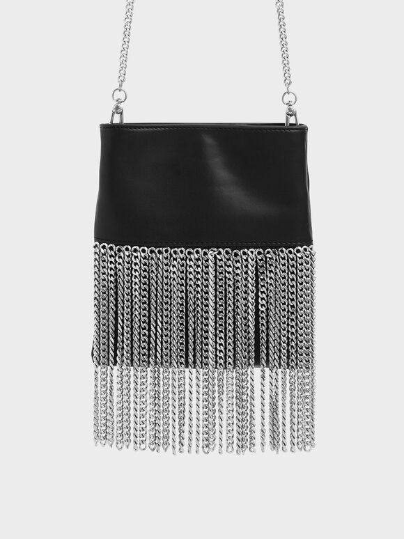 Chain Fringe Mini Crossbody Bag, Black, hi-res