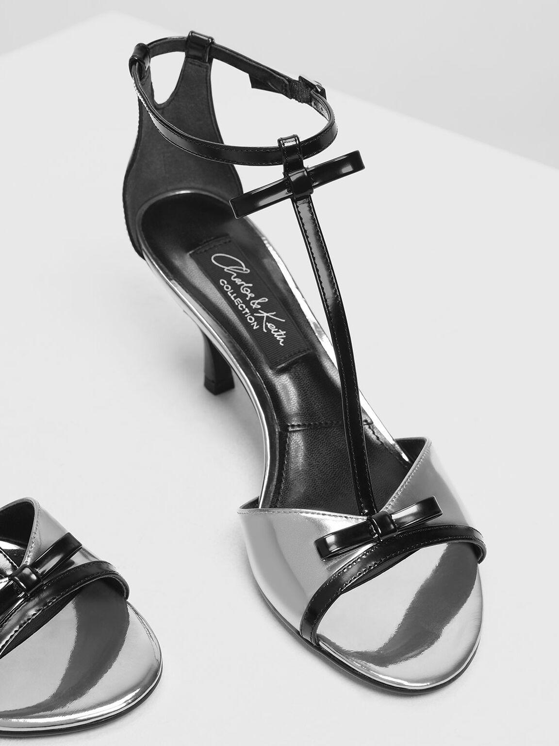 Metallic Leather Ribbon Detail T-Bar Heels, Pewter, hi-res