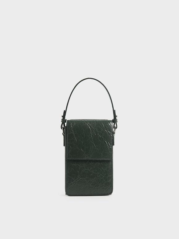 Wrinkled Effect Wallet, Dark Green, hi-res