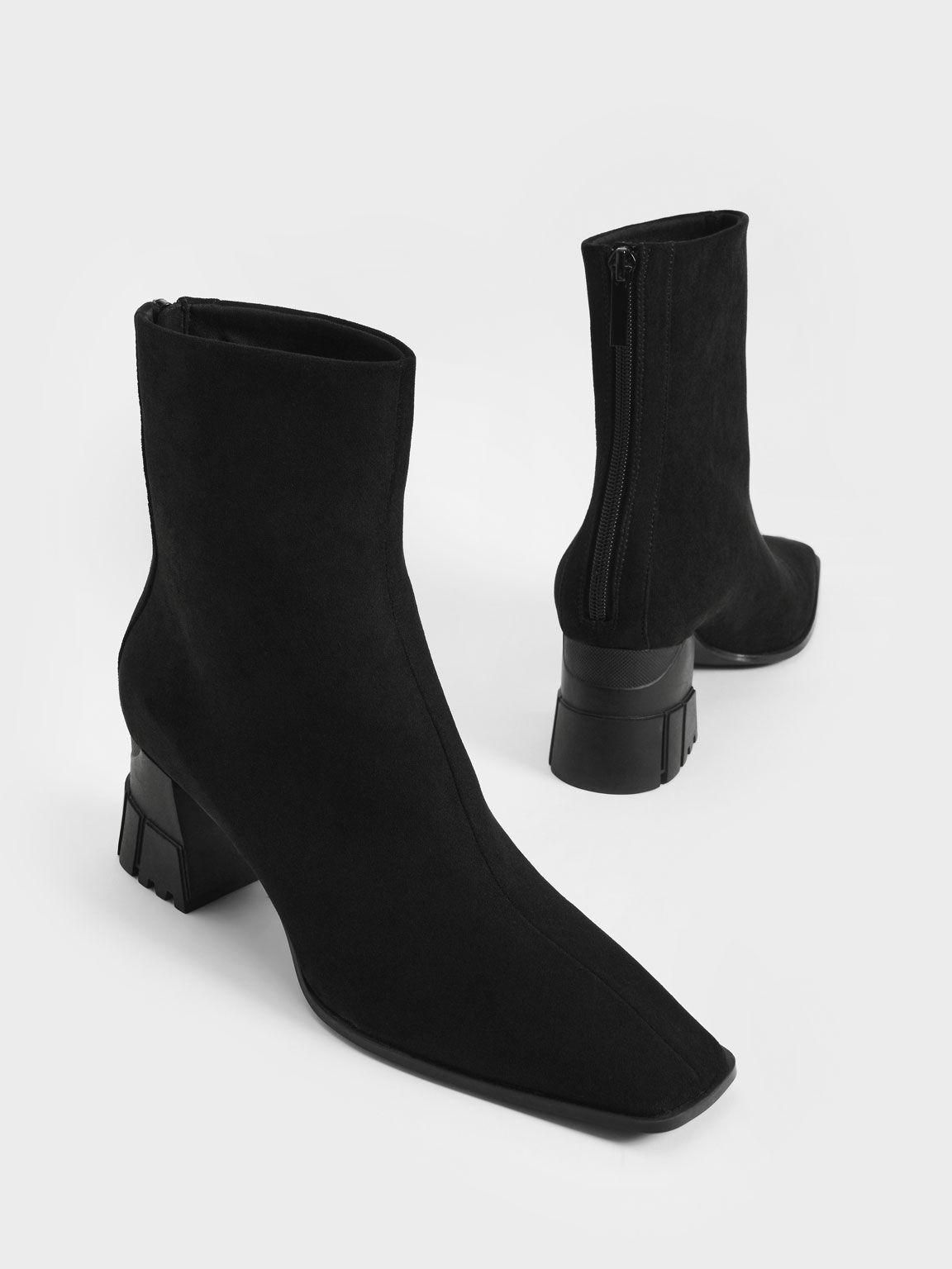 Zip-Up Block Heel Ankle Boots, Black Textured, hi-res