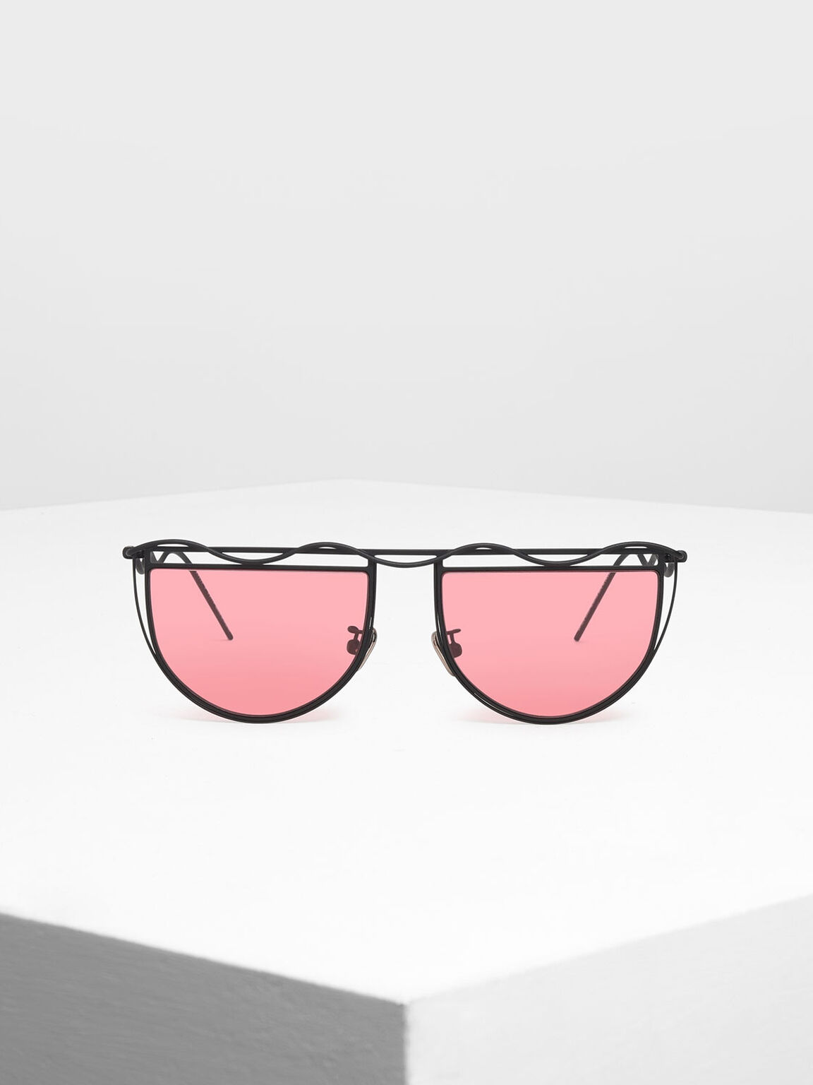 Drop Temple Semi-Circle Sunglasses, Red, hi-res
