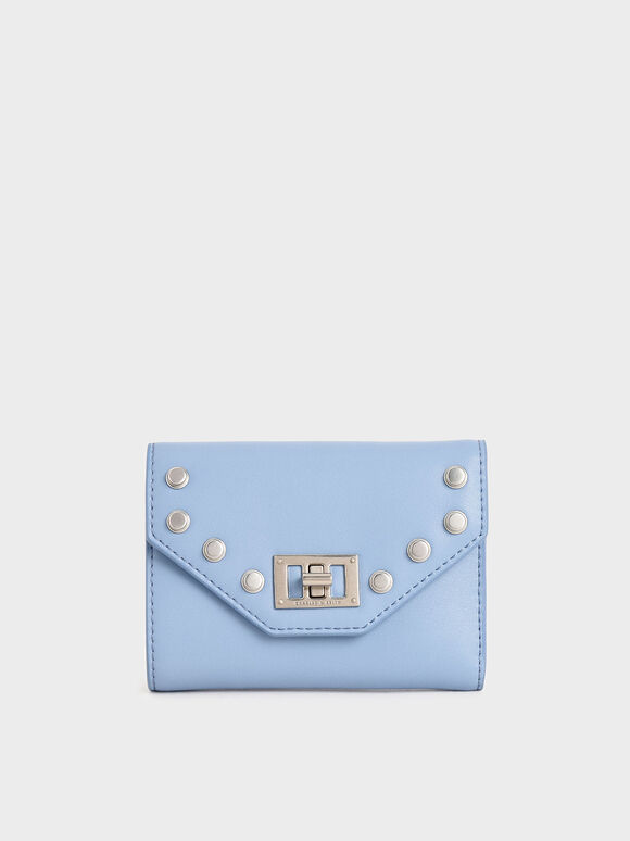 Studded Small Wallet, Denim Blue, hi-res