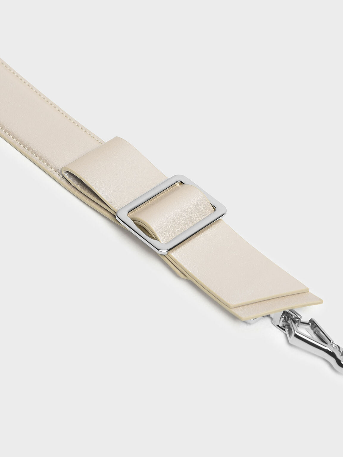 Buckled Bow Detail Mini Strap, Pearl, hi-res