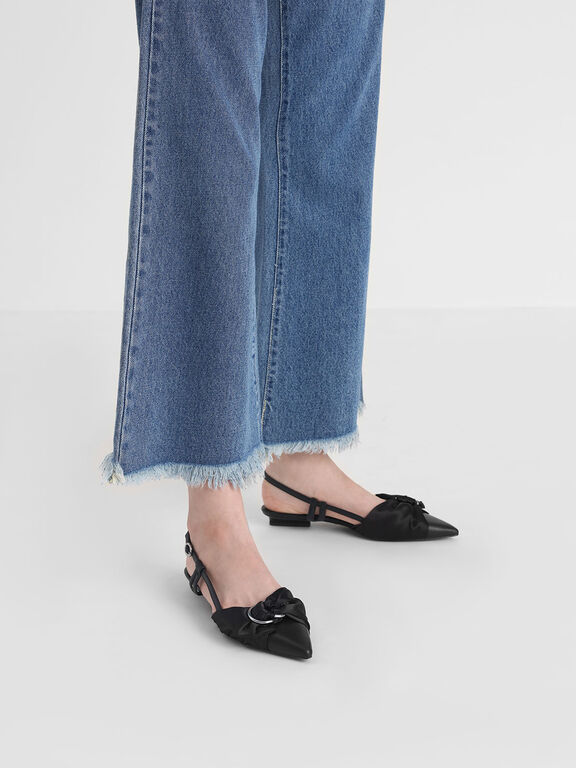 Ring Detail Satin Fabric Leather Slingback Flats, Black