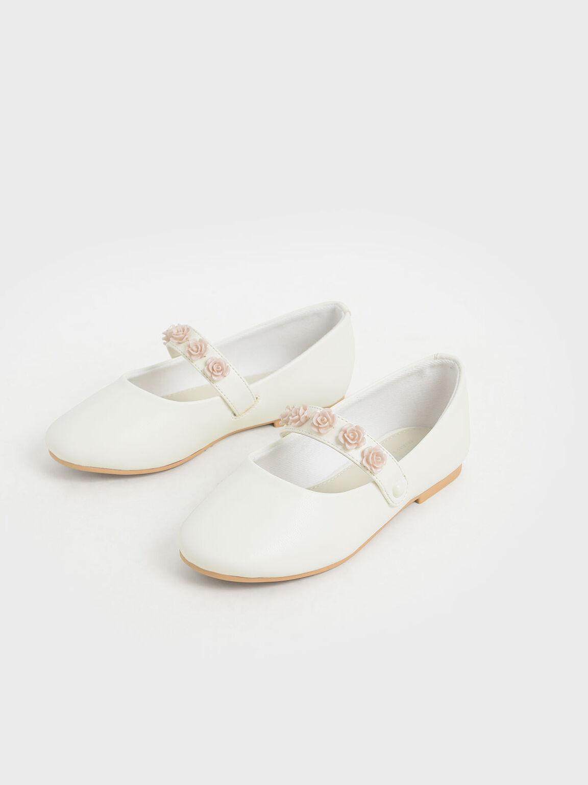 Girls' Flower-Embellished Mary Janes, White, hi-res