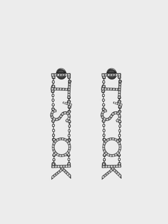 """IT'S OK"" Drop Earrings, Black, hi-res"