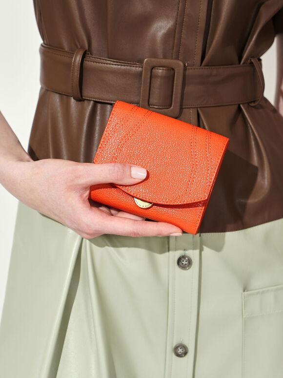Push-Lock Mini Wallet, Orange, hi-res