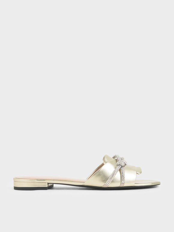 Embellished Strap Metallic Slide Sandals, Gold, hi-res