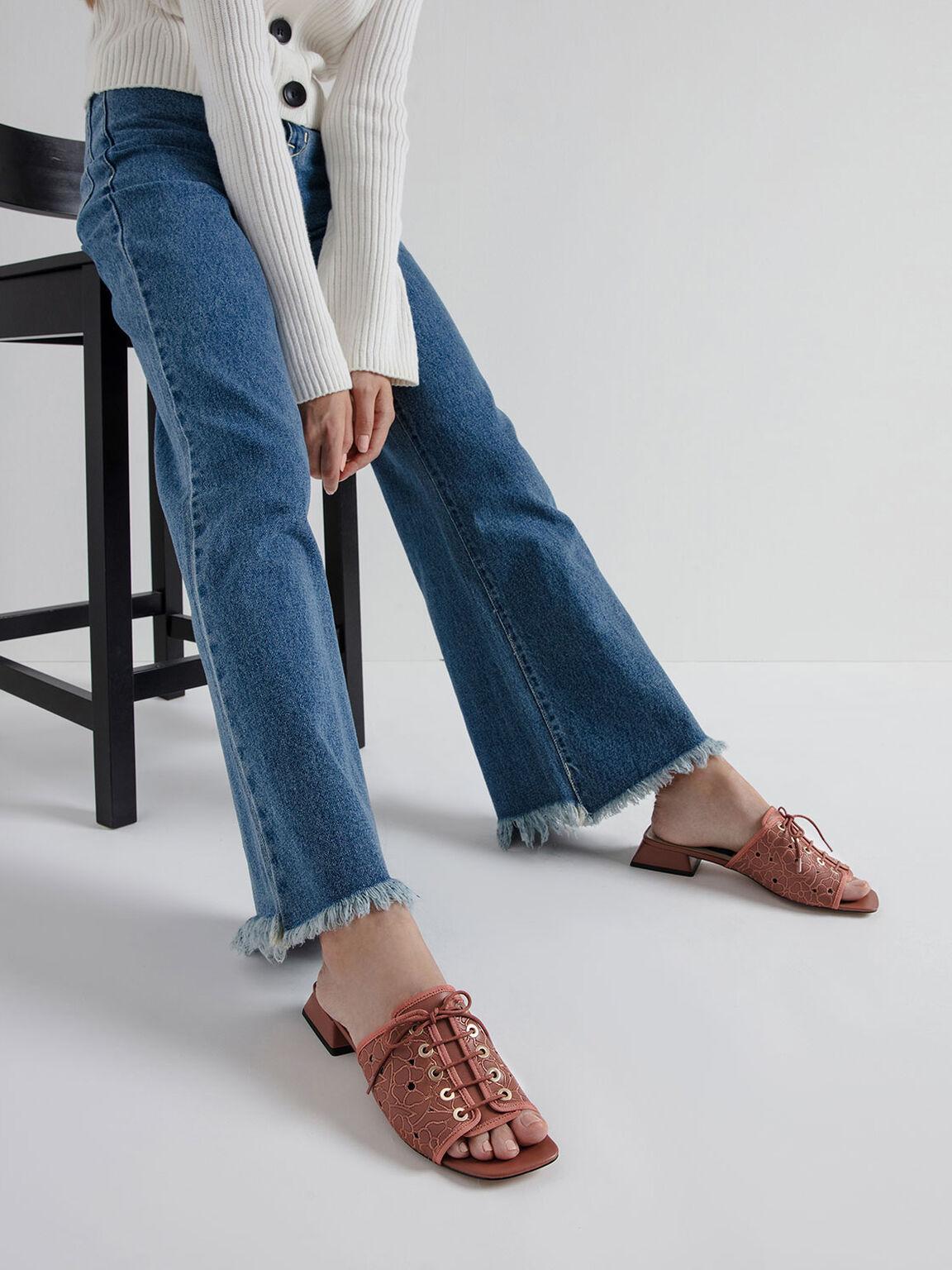 Embroidered Lace-Up Slide Sandals, Brick, hi-res