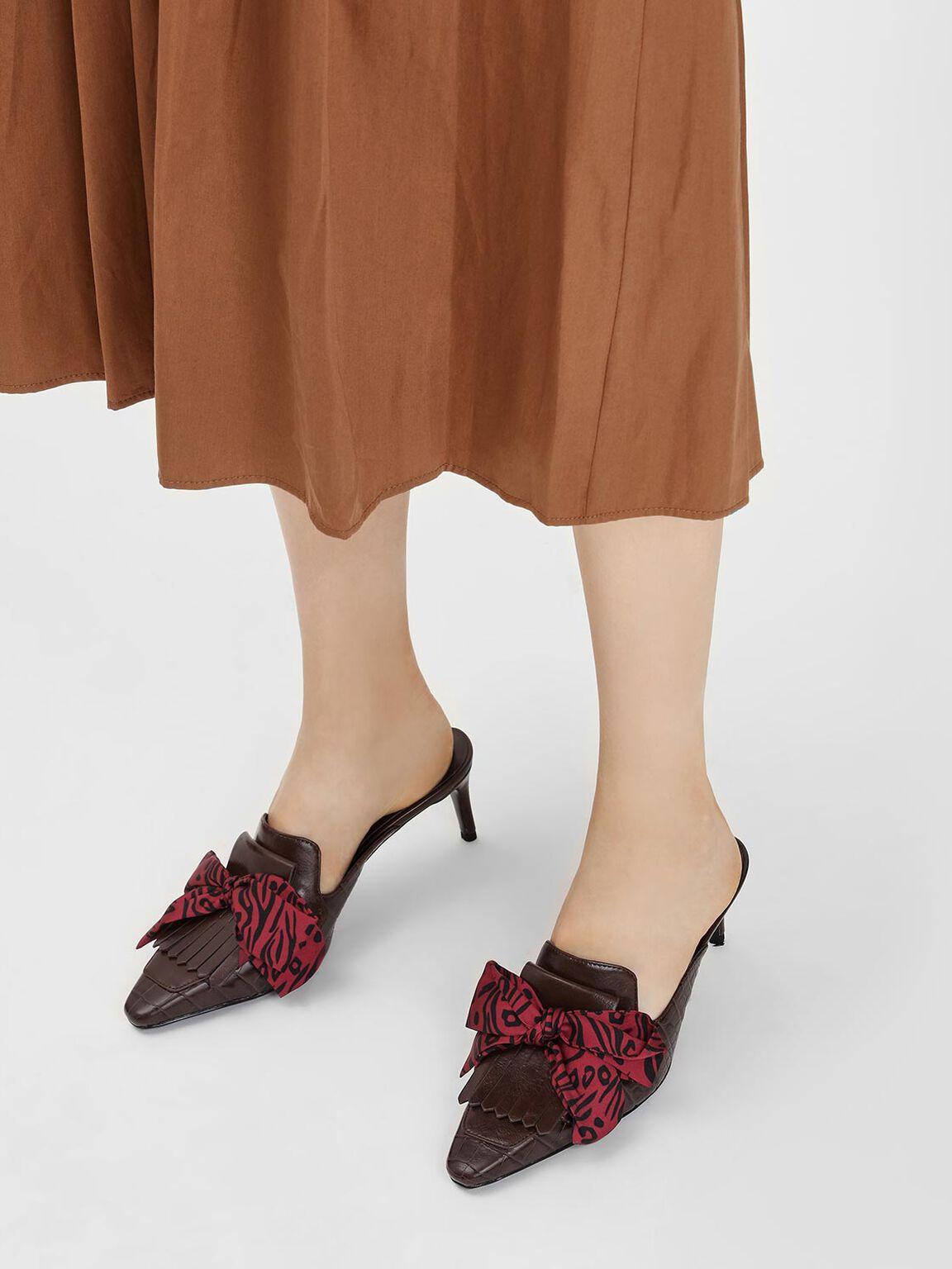 手綁結穆勒鞋, 深咖啡, hi-res