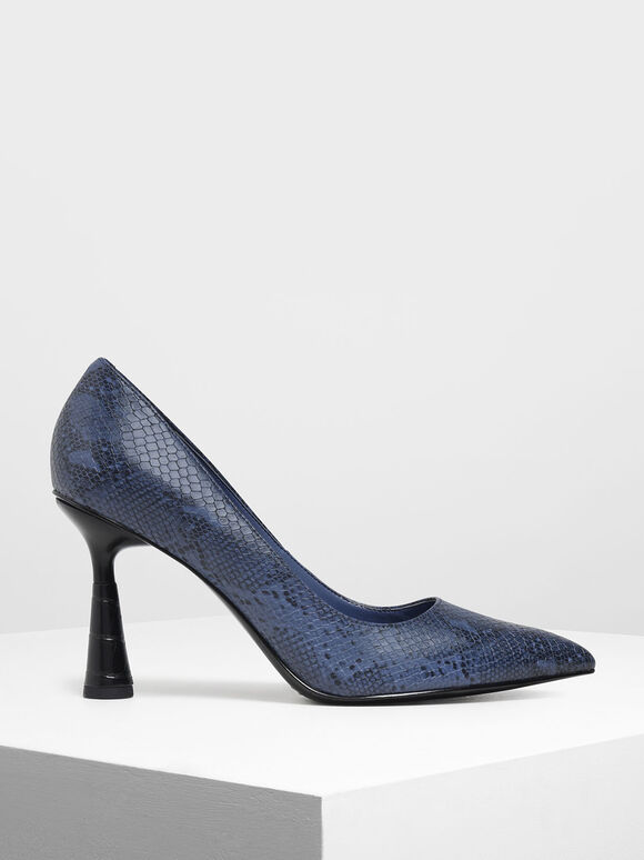 Snake Print Sculptural Heel Pointed Toe Pumps, Blue, hi-res