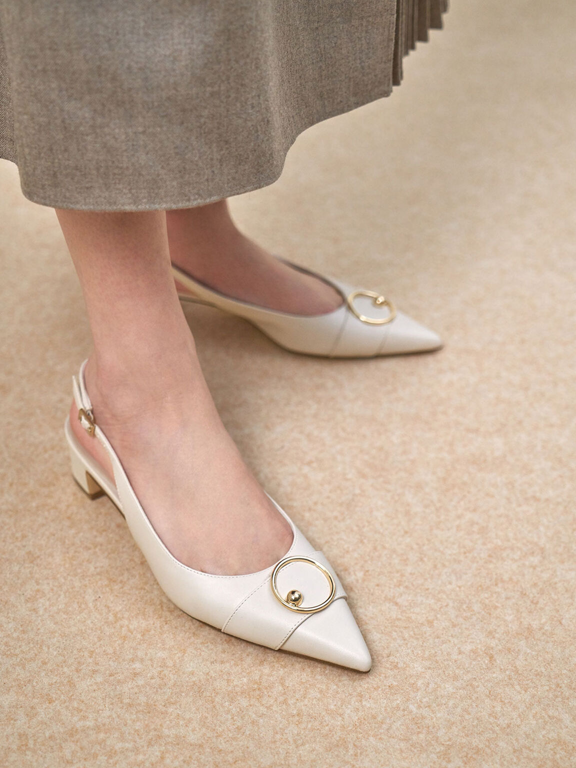 Ring Embellished Slingback Court Shoes, Chalk, hi-res